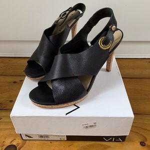 Via Spiga Onitta, Black Leather Cork Sandals Heels